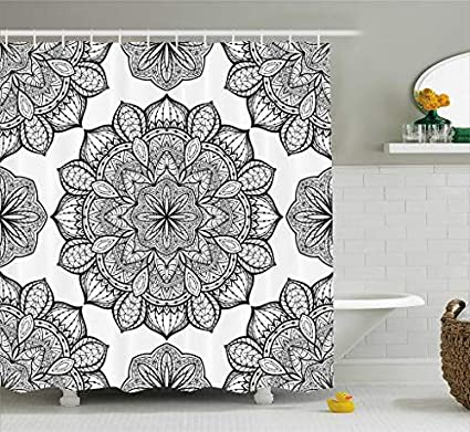 Ambesonne Mandala Shower Curtain Black And White Decor By Hippie Celestial Look Floral Pattern Oriental
