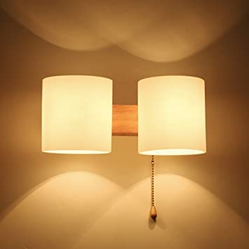 Unbekannt SKC Lighting-Wandlampe Massivholz kommt mit Kabel-Schalter ...