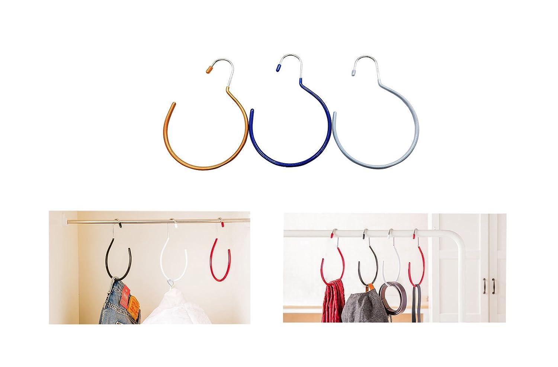 3PACK Heavy Duty Metal Closet Storage Organizer Rack Belt Hanger Scarf Tie Rack Holder Hook Non-Slip Velvet Hat Hanger(Blue-M 3) T-shin