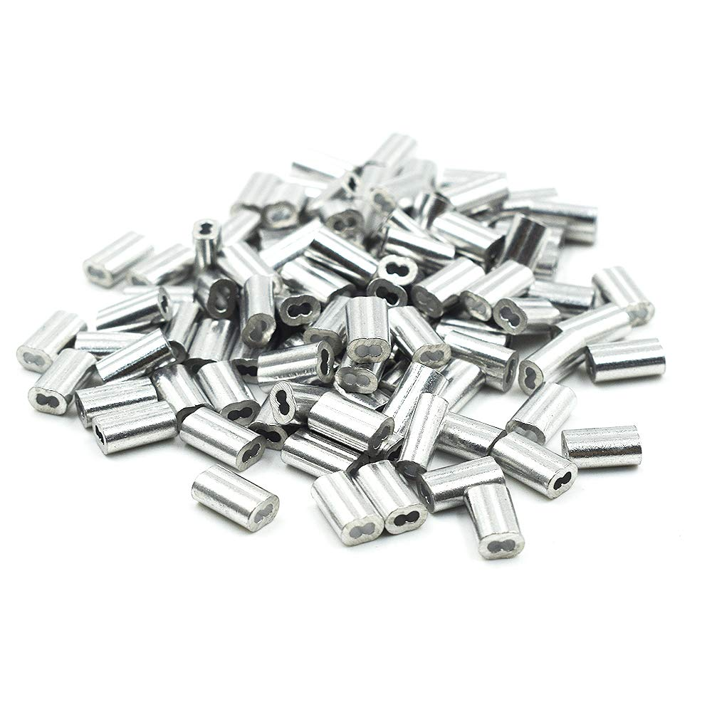 TOUHIA Aluminum Crimping Loop Sleeve for 6mm Diameter Wire Rope and Cable 20Pcs