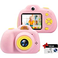 Kids Camera Gifts for 3-9 Year Old Girls,1080P HD Mini Rechargeable Children Shockproof Digital Front and Rear Selfie…