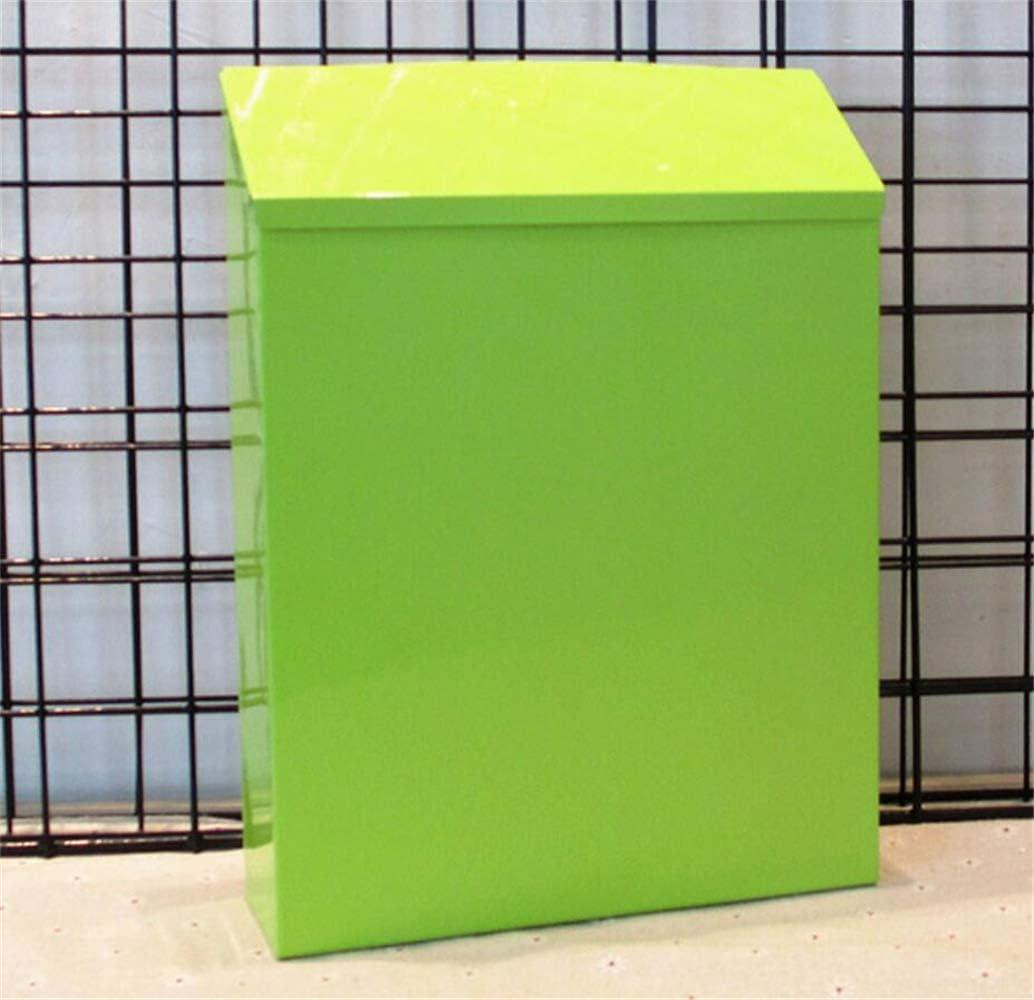 peri/ódico Buz/ón de correo de acero montado en la pared exterior resistente al agua buz/ón cl/ásico hoja de hierro cerrable buz/ón de correo exterior para cartas amarillo