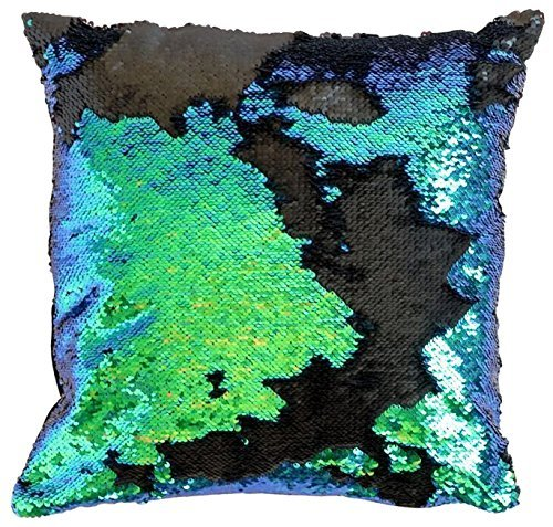 Glitter Sequin (Ankit Mermaid Pillow with Insert Sparkling Mermaid with Flip Sequin, Magic Glitter Reversible Color Changing Decorative Pillow)