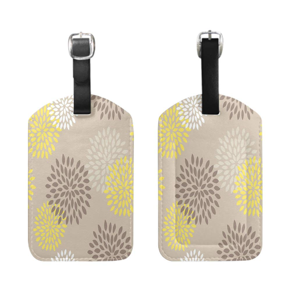 Seamless Pattern Allover Sea Star Print White Background-2-Piece bescribe leather name ID tag with privacy cover Stylish Patterned Private Luggage Tag