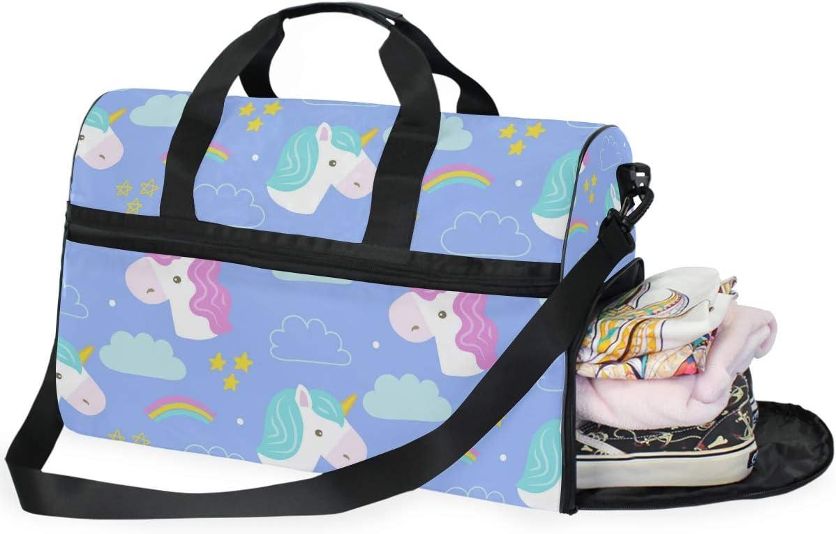 Travel Duffels Rainbow Unicorn Duffle Bag Luggage Sports Gym for Women /& Men