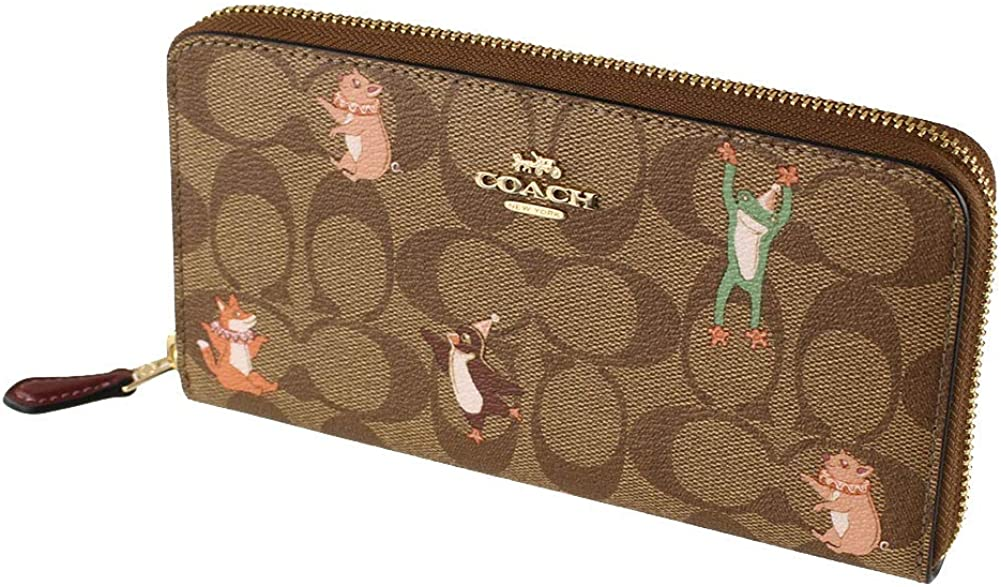COACH WOMENS ACCORDION ZIP WALLET IN SIGNATURE CANVAS WITH PARTY ANIMALS PRINT F87885 KHAKI PINK MULTI