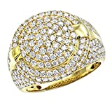 Statement Jewelry: Mens Diamond Band 14k Gold Pinky Ring Round Shape 3.75ctw (Yellow Gold, Size 11)