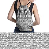 drawstring bag Trees Geometrical Pattern Town easy to carry