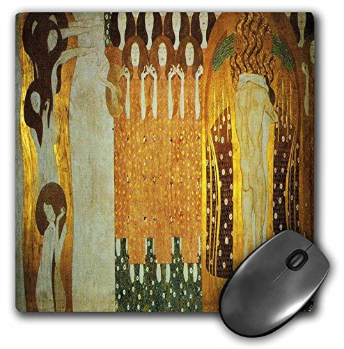 (3dRose Print of Frieze In Beethovens Honor By Klimt - Mouse Pad, 8 by 8 inches)