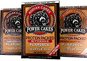 Kodiak Power Cakes, Protein Packed-WHOLE GRAIN Flapjack & Waffle Mix, VARIETY 3 PACK: 1 box each of BUTTERMILK, DARK CHOCOLATE, CRUNCHY PEANUT BUTTER.