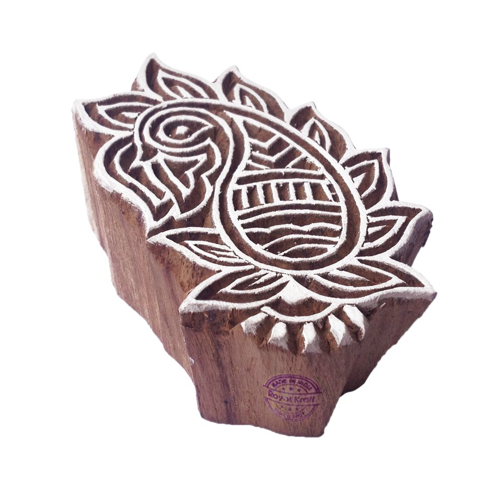 Set of 6 Royal Kraft Paisley and Flower Wooden Printing Blocks Textile Block Prints Scrapbook /& Clay Projects to Make Henna Tattoos