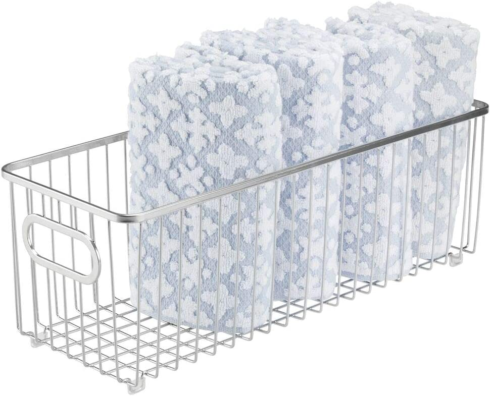 mDesign Deep Metal Bathroom Storage Organizer Basket Bin - Farmhouse Wire Grid Design - for Cabinets, Shelves, Closets, Vanity Countertops, Bedrooms, Under Sinks - Chrome