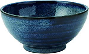 Zen Table Japan Large 40 oz Ramen Noodle, Udon, Pasta, Soup, Donburi SANUKI Bowl/Serving Bowl Japanese Navy Color Deformation during Firing (Youhen-kon) -Made in Japan