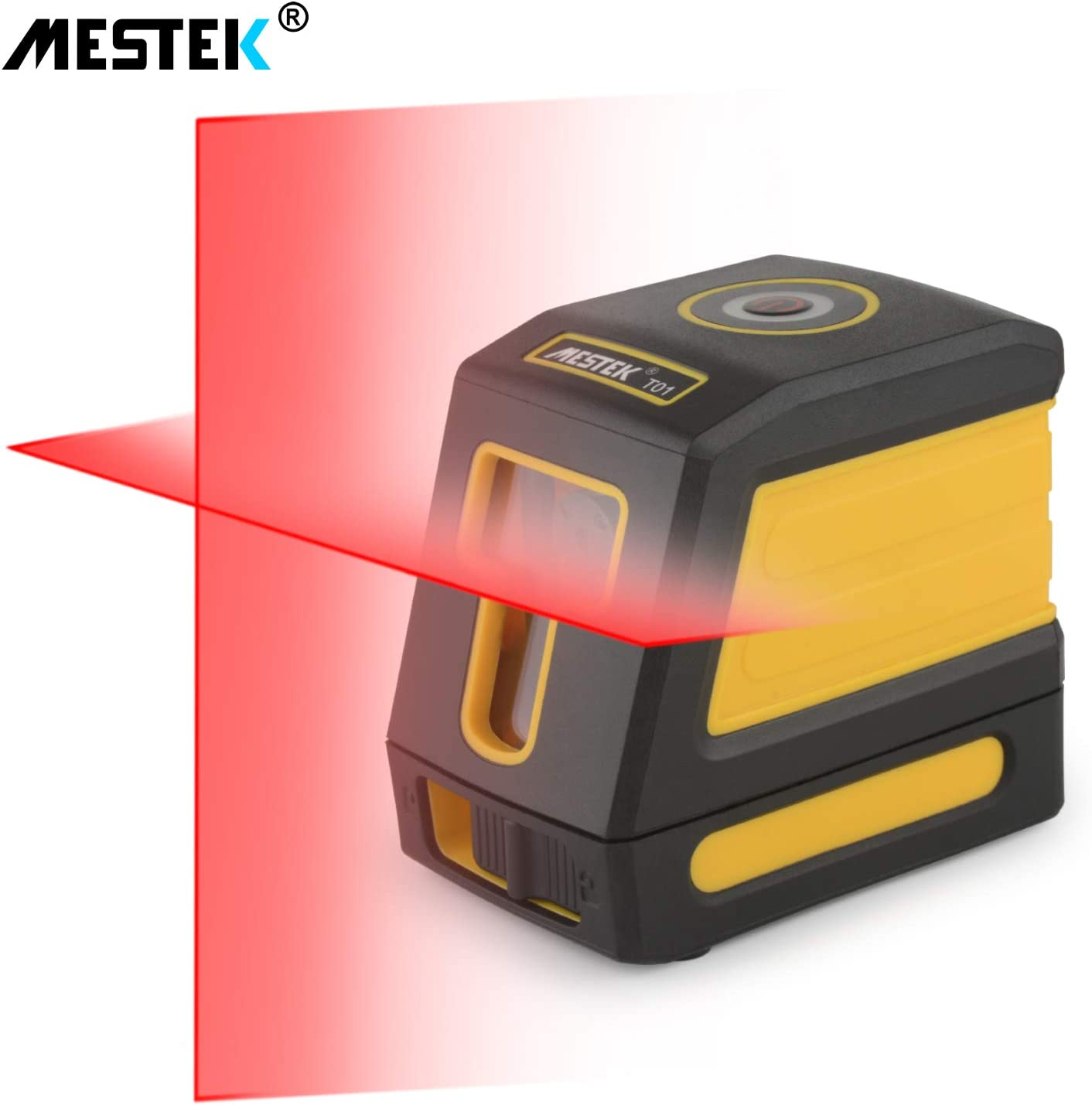 Laser Level Self Leveling MESTEK Line Level 50 Feet Alignment Tools Cross Vertical Horizontal Lines Full Soft Rubber Covered Carrying Pouch Batteries Mount Base for Wall Ceiling Hanging Picture