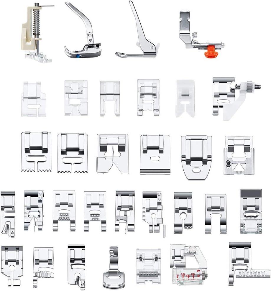 SUNTATOP 32 Pies Prensatelas para Máquina de Coser, Kit Multifuncional de Accesorios para Máquinas de Coser para Varios Modelos de Máquinas de Coser