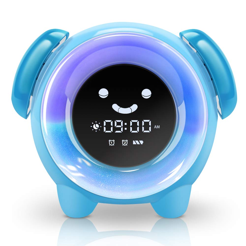 KNGUVTH Alarm Clock for Kids Bedrooms, Children Sleep Training Clock with 7 Changing Colors Teach Girls Boys Time to Wake Up, Night Light Clock with ...
