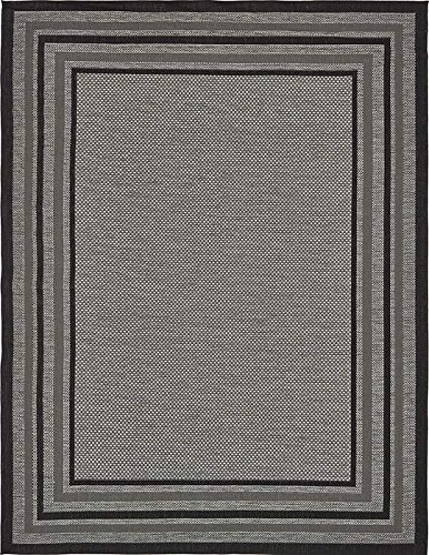 Unique Loom Outdoor Collection Gray 9 x 12 Area Rug (9' x 12') - Patio Border Rug