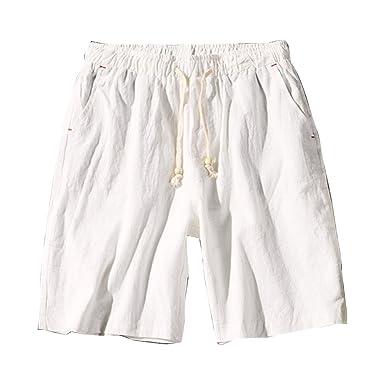 3733b23a7c71d Bermudas De Plage Homme Pantalon Court Chino Shorts en Lin Décontracté  Léger Confortable Respirant Grande Taille