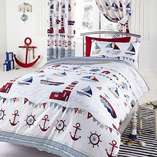 Nautical White Double Duvet Pillowcases