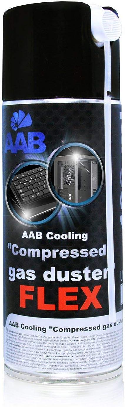 AABCOOLING Compressed Gas Duster FLEX 400ml - Spray con un Tubo Flexible, Limpiar PC y Televisiones, Spray de Aire Comprimido, Soplador de Aire