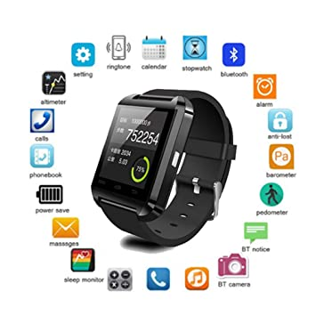FRWPE Smart Watch U8 Smartwatch Clock Sync Notifier ...
