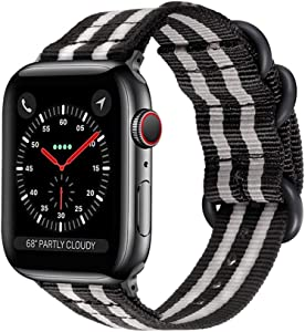 Compatible Apple Watch Band 42mm 44mm Nylon Olive iWatch Band Replacement Strap Durable Dark Gray Adapters NATO Buckle Compatible Apple Watch Series 4 Series 3 2 1 (black grey, 38/40mm)