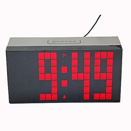 LambTown Jumbo LED Reloj de Pared Digital con Alarmas Calendario Termómetro Luminoso Para la Cocina Junto