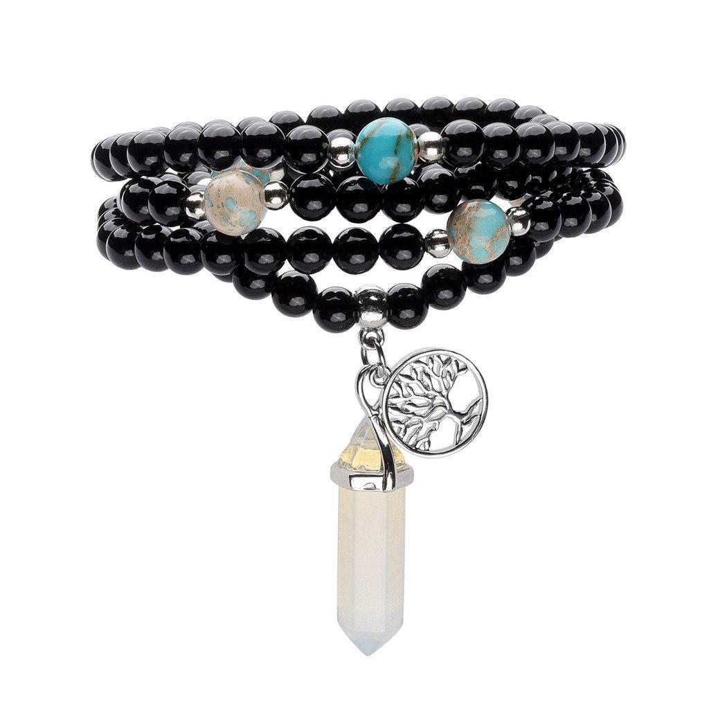 Top Plaza 108 Natural Black Agate Stone Tibetan Buddhist Prayer Mala Beads Buddha Yoga Meditation Wrap Bracelet/Necklace 6mm - Hexagonal Point Synthetic Opalite