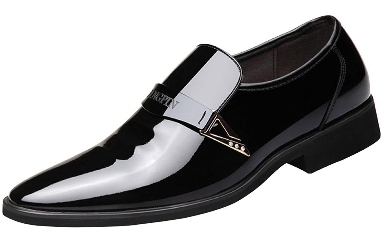 Herren Frühling Und Herbst Business Kleid Schuhe Fashion Derby Schuhe Lackleder Arbeitsschuhe (Farbe   Schwarz, Größe   44EU)