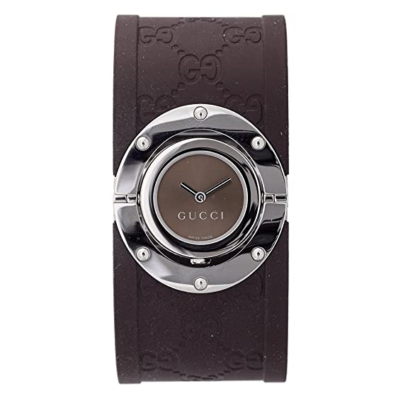 2a2d4024a4b GUCCI Women s YA112421 112 Twirl Collection Brown Rubber Bangle Watch   Amazon.ca  Watches