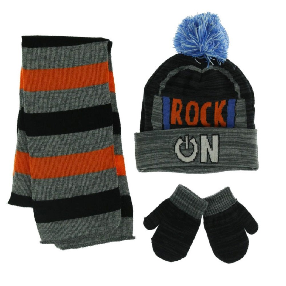 Toby Boys 2T-4T Shout Out Hat, Scarf, & Mittens Set ( 2-4yrs , Orange )