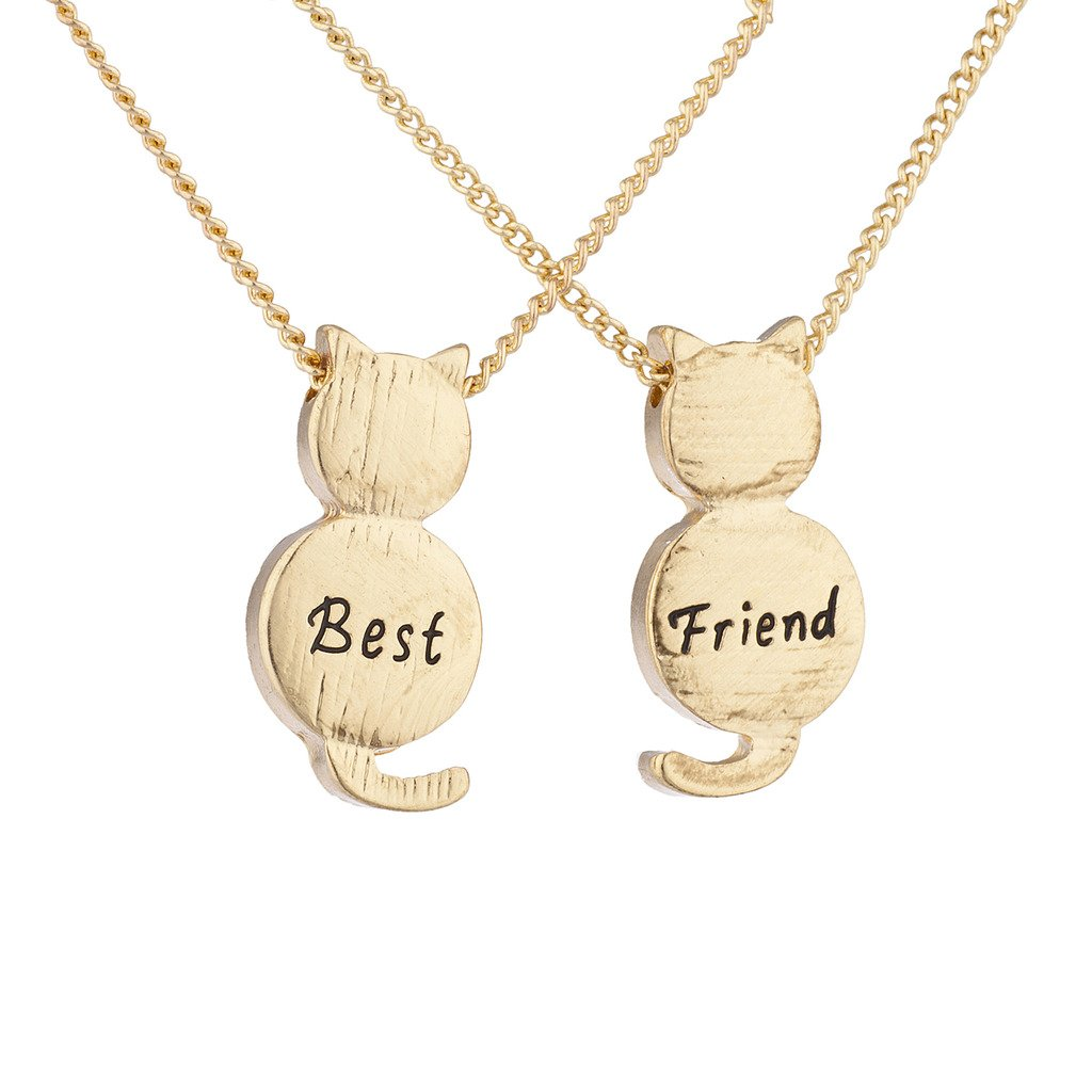 Lux Accessories Best Friend BFF Engraved Cat Novelty BFF Necklace 2Pc Set N255024-3-N1229