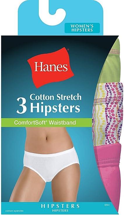3 Stück Hanes Damen Slip Hipster Weiches Baumwolle Komfortabler Bund Neu