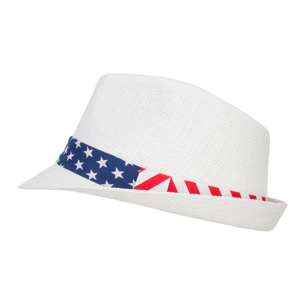 Hatiya American Flag Band Straw Fedora