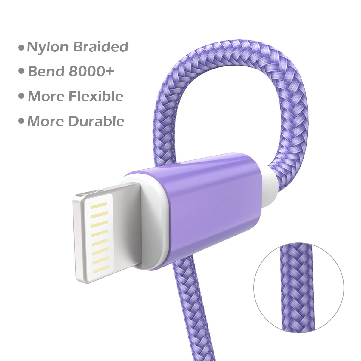 KidKer 4 Pack Lightning iPhone Charger Cables 3ft 3ft 6ft 10ft USB Chagring Certified Nylon Braided Cord Short for iPhone 7 Plus 6S 6 5 5S 5C SE iPad Pro Air Mini 2 3 4 iPod Touch (Purple ( 4 Pack )) by KidKer (Image #3)