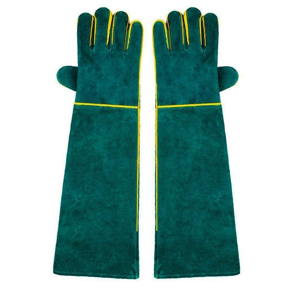 Wgwioo Animal Handling Gloves,Welding Gloves Long Sleeve For Mig Tig Welders BBQ Gardening Camping Stove Fireplace,Green,1Pair by Wgwioo