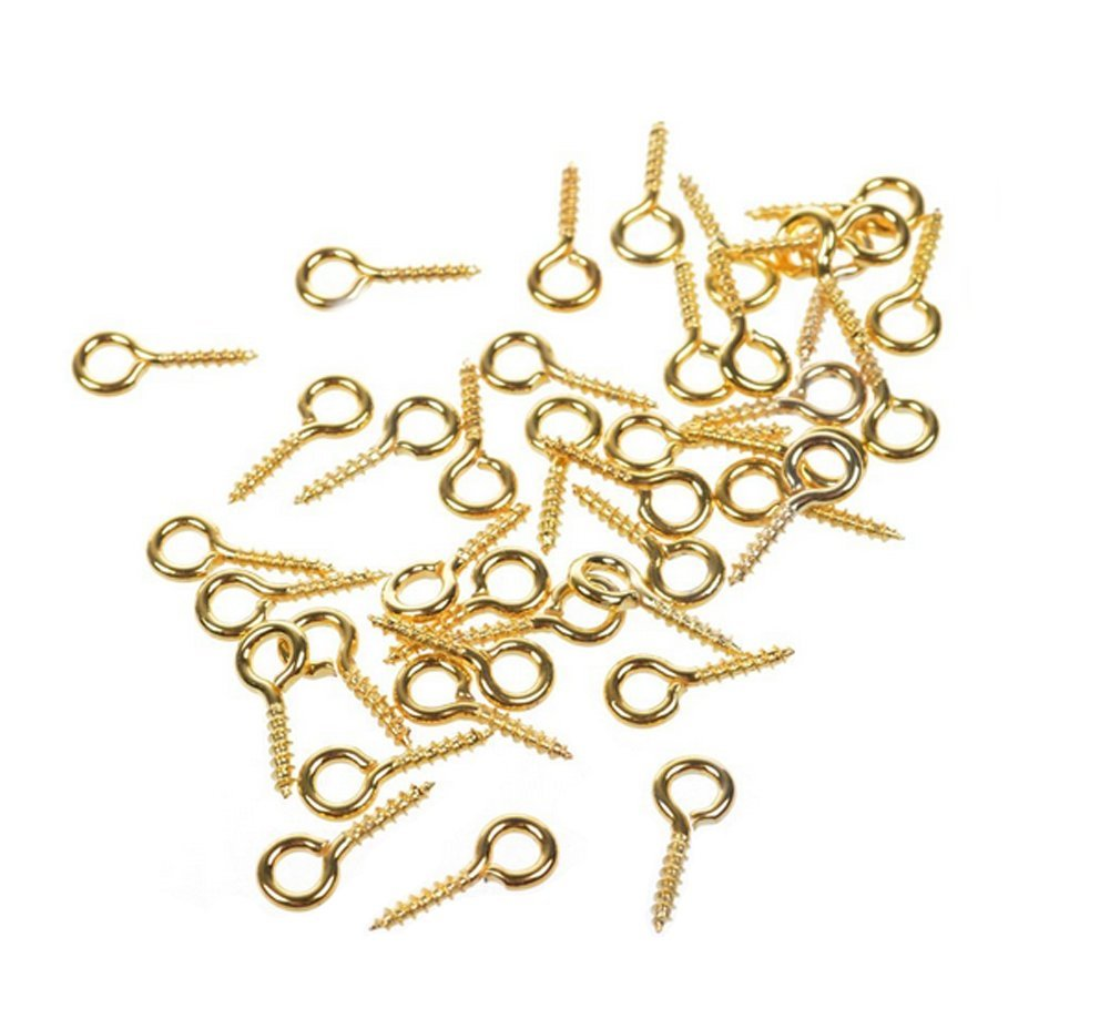 250Pcs Mini 12mm x 5mm Screw Eyes Pin Hoop Eyelet Peg Findings for Arts & Crafts Projects/ Bead /Jewelry /Cork Top Bottles Bails Creative Designs Top Drilled Connectors Pendant Bail (Gold) erioctry 4336856491