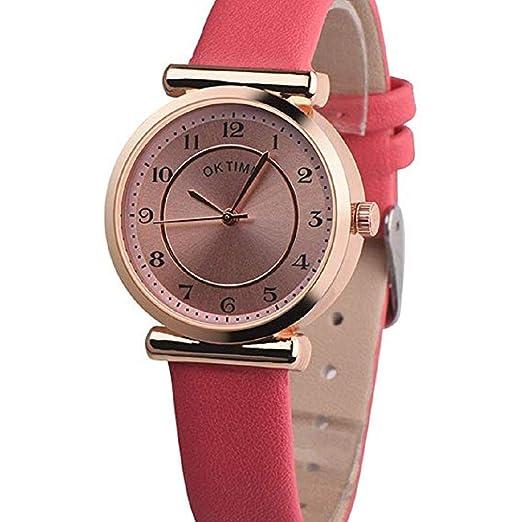 Scpink Reloj de Cuarzo para Mujer, Liquidación Relojes de Pulsera analógicos para Mujer Relojes de Mujer Relojes de Cuero de PU (Rojo): Amazon.es: Relojes