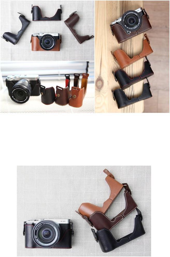 CSJ-XM1-02 for Fujifilm X-M1//X-A1//X-A2 Black//Red CIESTA Leather Camera Body Case