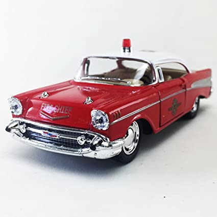 Amazon 1957 Chevy Bel Air Fire Chief Red Kinsmart 140 Diecast