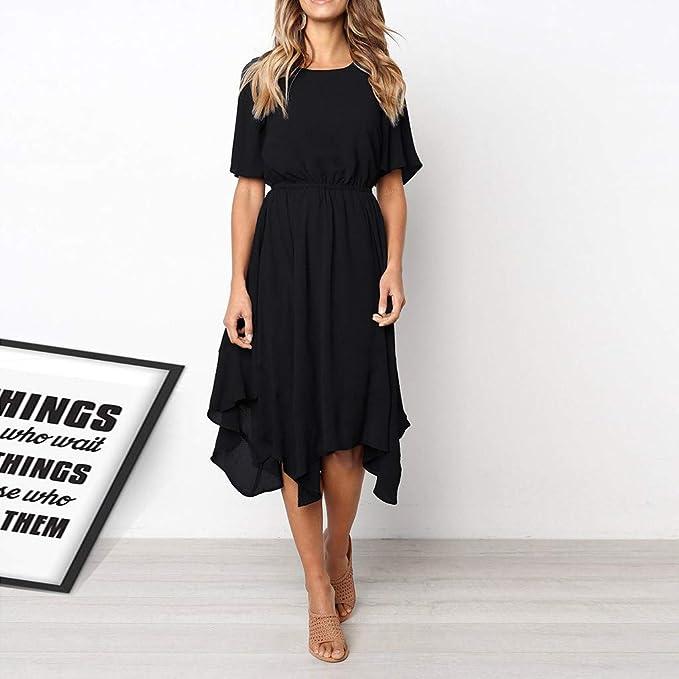 7240ee3cf770 Fashion Sundress Beach Dress Women's Casual Short Sleeve Party Long Summer  Dress Evening Dresses Maxi Dress at Amazon Women's Clothing store: