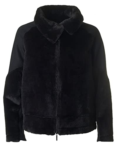 Armani Jeans Shearling Biker Style Jacket 16 BLACK