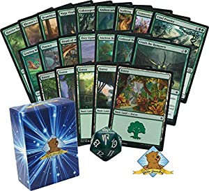 60 Magic The Gathering – All Green Cards Beginner Starter Deck! 1 Spindown! Lands! Includes Golden Groundhog Deck Box!