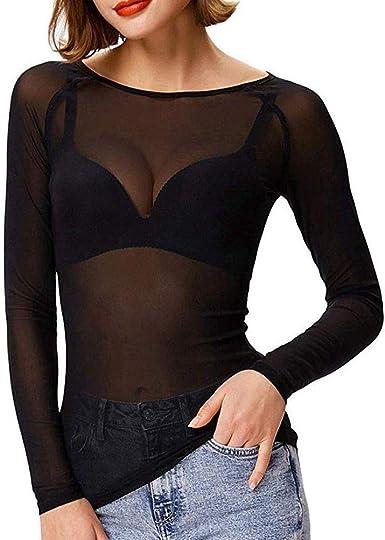 Blusas De Mujer Sexy Ver A Través De Malla Transparente Camisa De Manga Larga Blusa Transparente Señoras Tops: Amazon.es: Ropa y accesorios