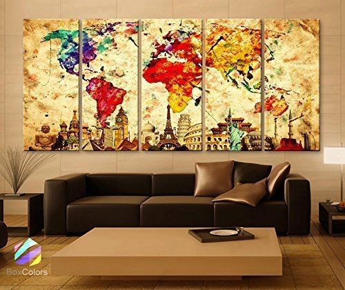 Ea Art Canvas Print Wonders of the World Old Paper Map