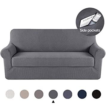 Marchtex Form Fit Stretch Machine Washable Stylish Furniture Cover/Protector Featuring Lightweight Twill Fabric, 4 Seater Sofa Strapless Slipcover (XL ...