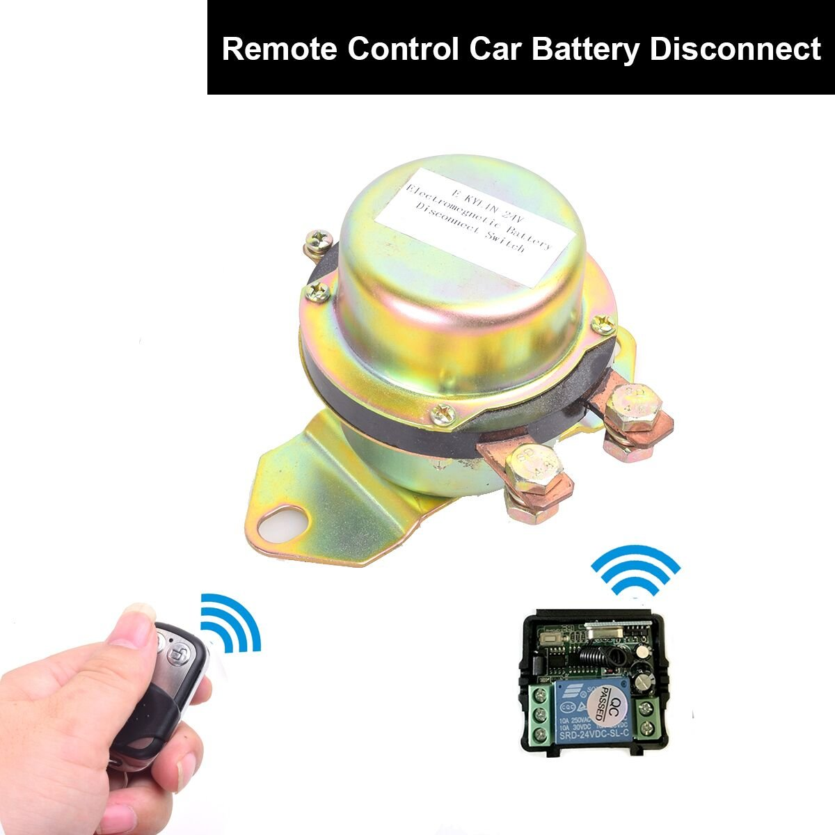 Car Wireless Remote Control Battery Switch Disconnect Latching Relay Anti-theft, EKYLIN DC 24V Electromagnetic Solenoid Valve Terminal Master Kill System