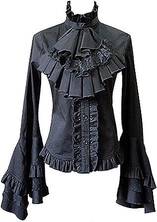 Punk Rave Camisa Negra de buche y Encaje Negro y-213 Negro Medium: Amazon.es: Ropa y accesorios