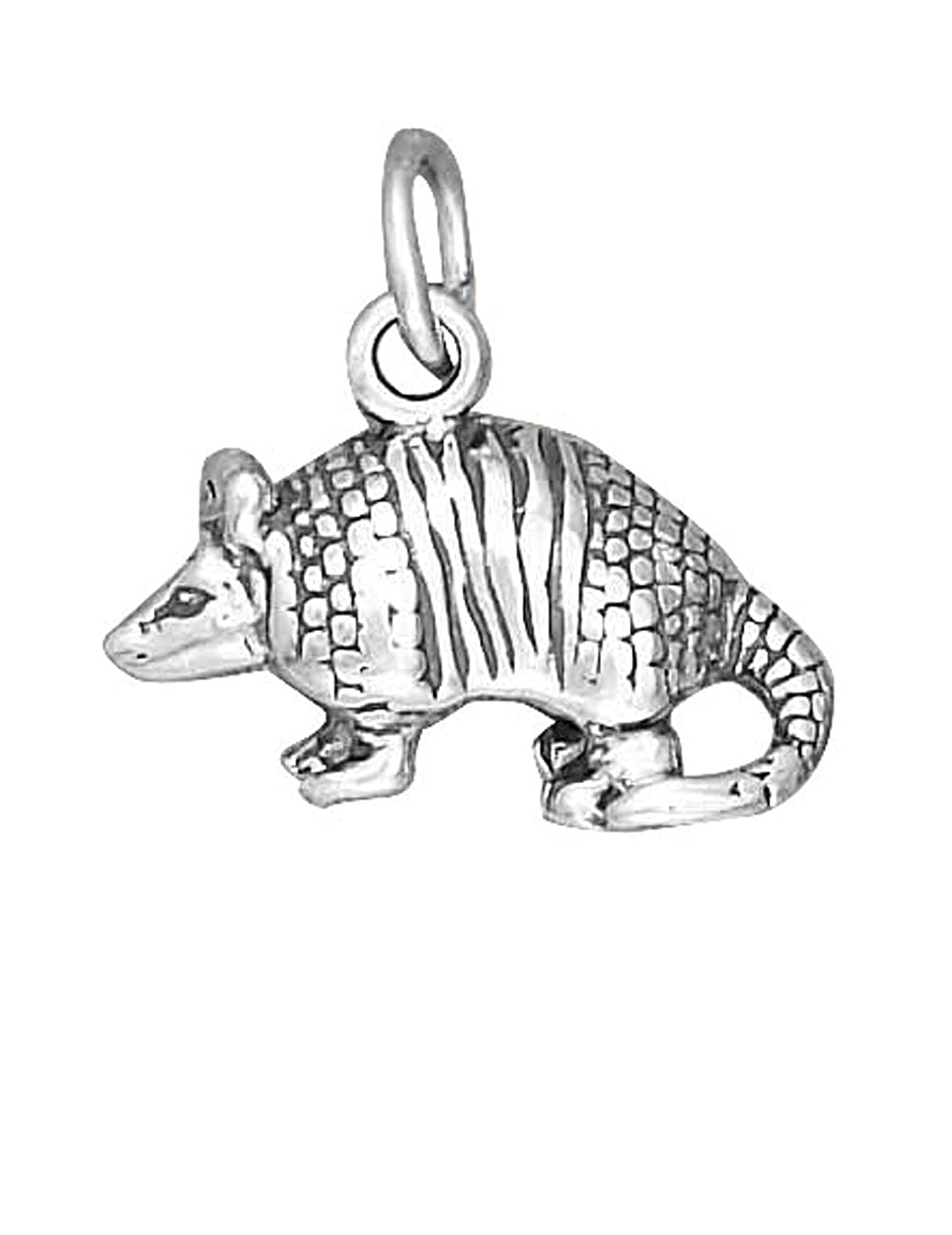 Sterling Silver Girls .8mm Box Chain 3D ARMADILLO Pendant Necklace