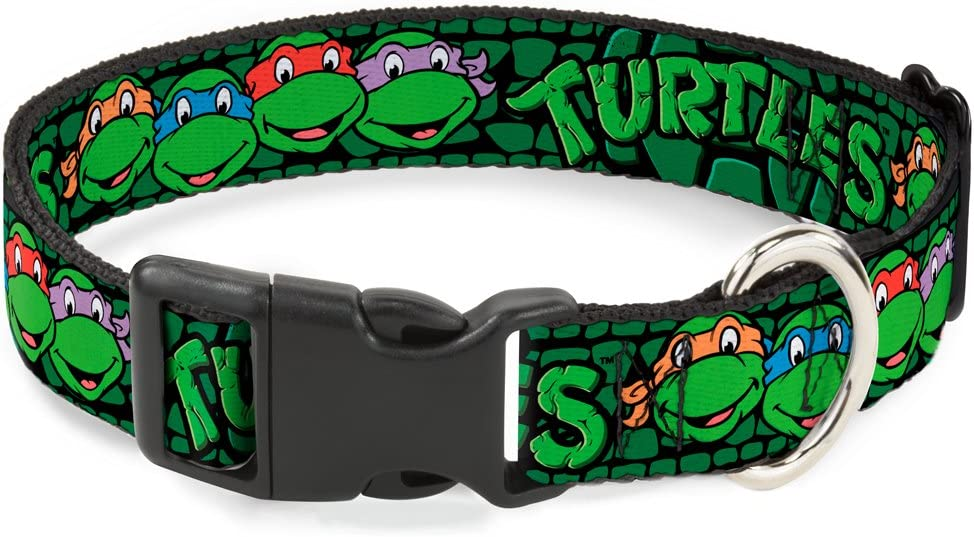 Buckle-Down Classic Tmnt Group Faces/Turtles Turtle Shell Black/Green Plastic Clip Collar